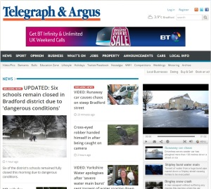 Telegraph and Argus home page January 30